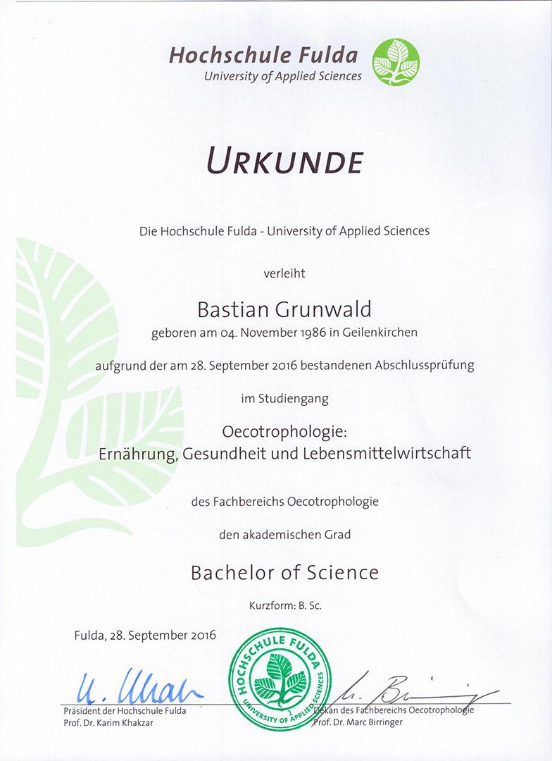 Zeugniss - Ernährungsberater Bastian Grunwald